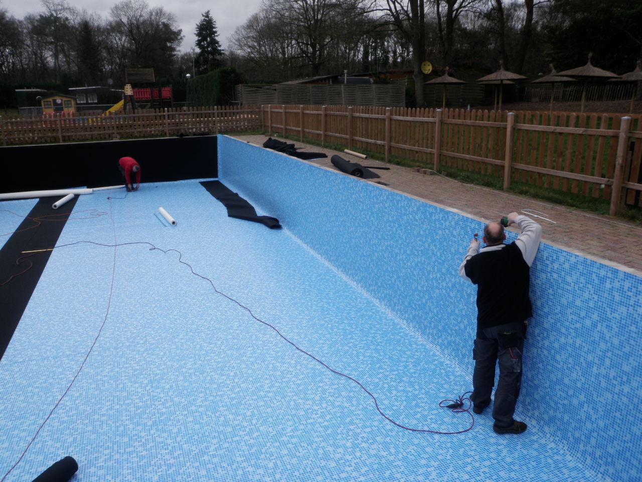 zwembadfolie blauw mozaik